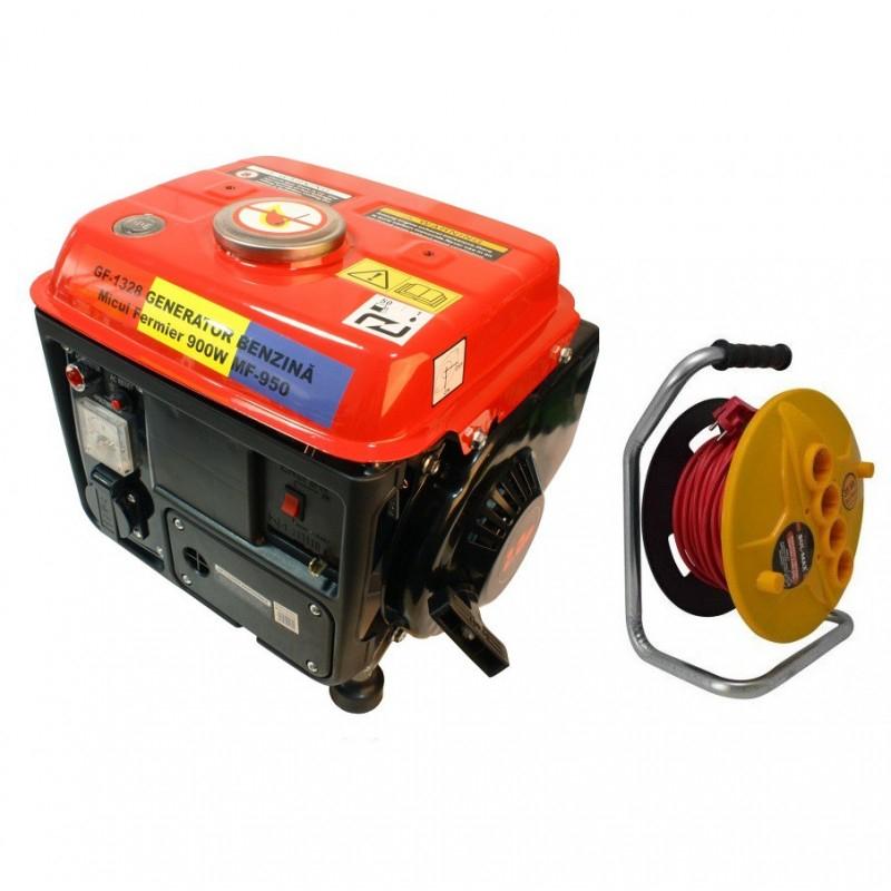 Pachet Generator Electric pe benzina + Prelungitor 35m 3x1.5 BullMax, Total 900W pret