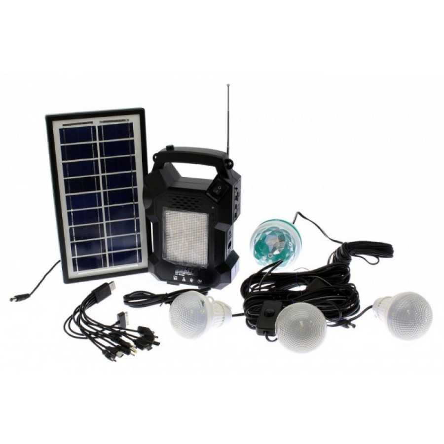 Image of Lanterna cu radio si Mp3 panou solar, 4 becuri GD-Light GD-8050