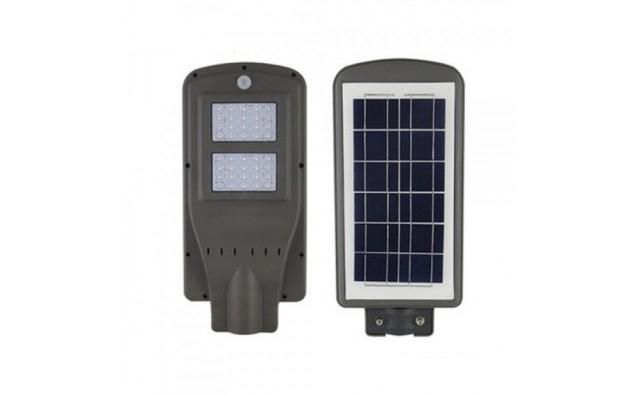 Lampa stradala 2x Cobled, 100 W cu panou solar, telecomanda, senzor si suport pret