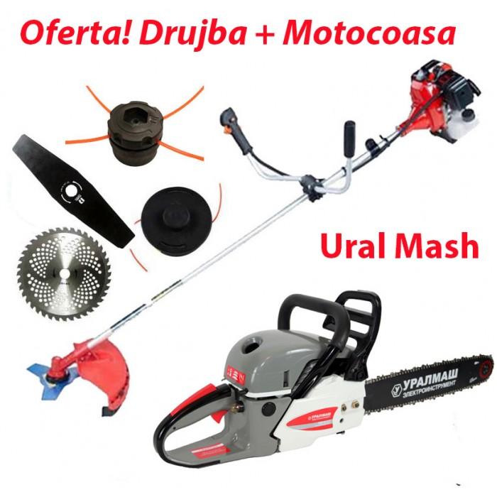 Oferta pachet Drujba + Motocoasa Ruseasca Uralmash pret