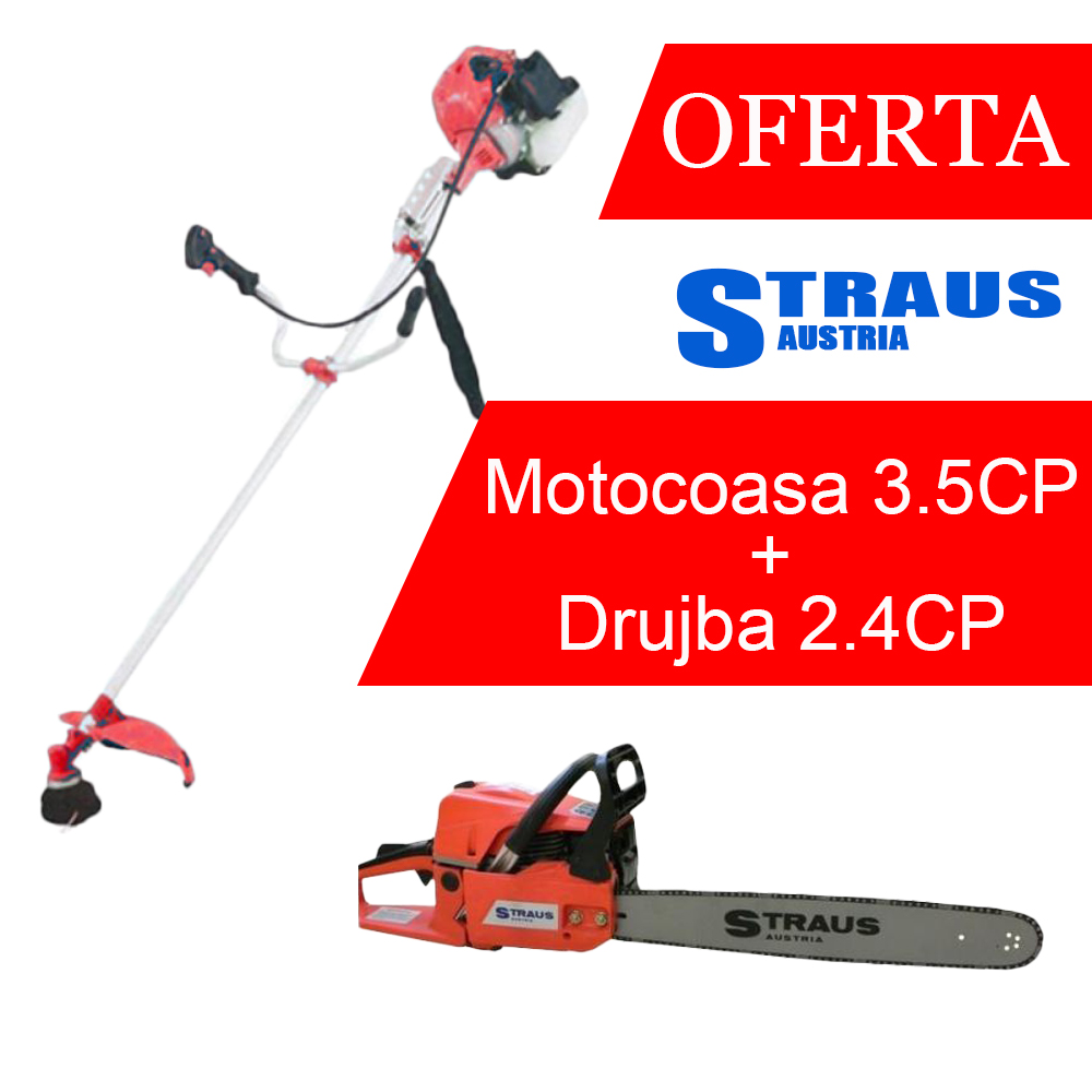 OFERTA Straus Austria Motocoasa 3.5CP si Drujba benzina 2.4CP pret