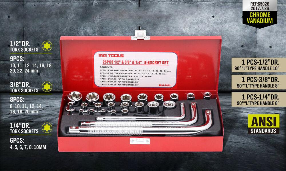 Image of Trusa de chei tubulare antrenor tip L 1/4, 1/2, 3/8 26 piese